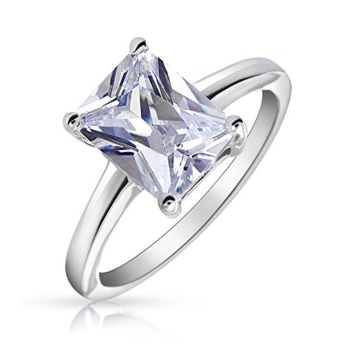 - Simple 2.5CT Rectangle Brilliant Emerald Cut AAA CZ Solitaire Engagement Ring Thin Band 925 Sterling Silver For Women