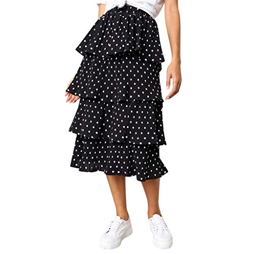 Clearance Dacawin-Dress Polka Dot Skirt for Women - Elastic High Waist 4-Layers Casual Chiffon Midi Skirts Black