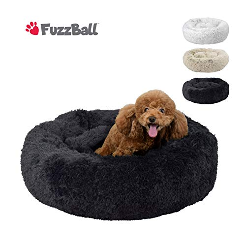 FuzzBall Fluffy Luxe Pet Bed, Anti-Slip, Waterproof Base, Machine Washable, Durable - 3 Colors -
