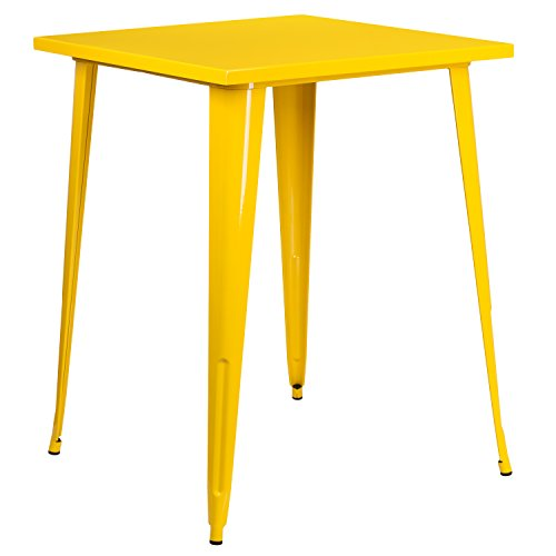 (Flash Furniture 31.5'' Square Yellow Metal Indoor-Outdoor Bar Height Table)