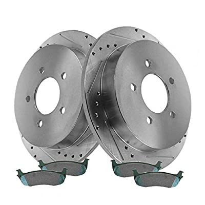 Rear Performance Drilled Slotted Brake Rotor & Ceramic Pad Set for Ford: Automotive