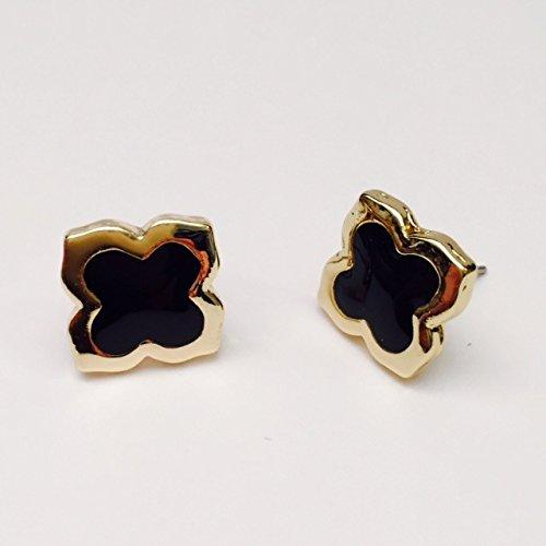 Amythyst Yellow Gold Tone Black Enamel Four Leaf Clover / Flower Stud Earrings
