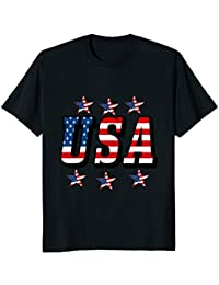 USA Flag Font and Flag Stars T-Shirt