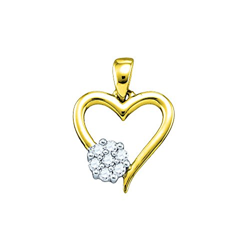 Yellow-tone Sterling Silver Womens Round Diamond Heart Cluster Pendant 1/10 Cttw