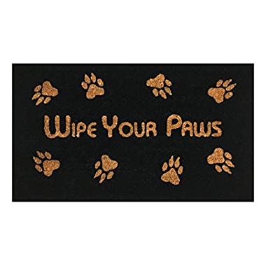 Wipe Your Paws  Doormat by Castle Mats, Size 18 x 30 inches, Non-Slip, Durable, Made Using Odor-Free Natural Fibers