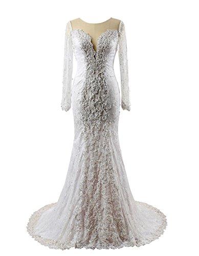 Brautkleider Spitze Weiß Mermaid Umhang Friesen Damen fullLoveDresses mit Brautkleider mit langen rmeln 6fEPZqw