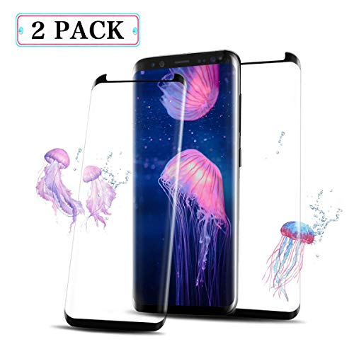 [2 - Pack] Galaxy S8 Screen Protector, Gewgewa [Case Friendly] [Anti-Scratch][Anti-Fingerprint][Bubble Free] Screen Tempered Glass Screen Protector Compatible Samsung Galaxy S8 (Black)