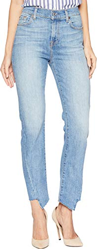 7 For All Mankind Women's Edie Cropped Straight-Leg Jean, Satellite Sky, ()