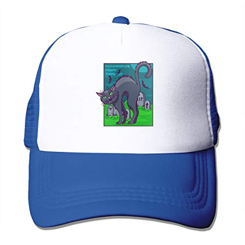 Unisex Halloween and Creepy Things Cat Kitty Trucker Cap Suitable for Indoor or Outdoor Activities Blue
