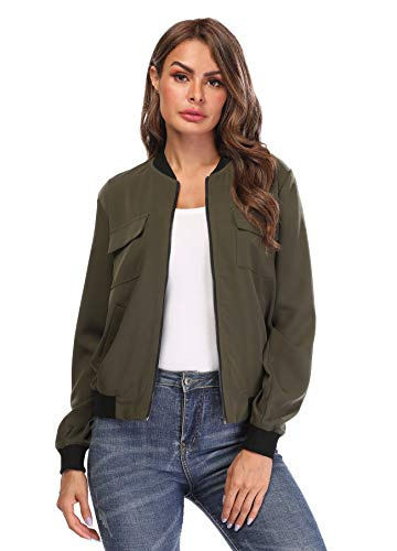MISS MOLY Women's Bomber Jackets Casual Zipper Lightweight Coat Long Sleeve Bomber Outwear Jacket with Pockets-Army Green XS