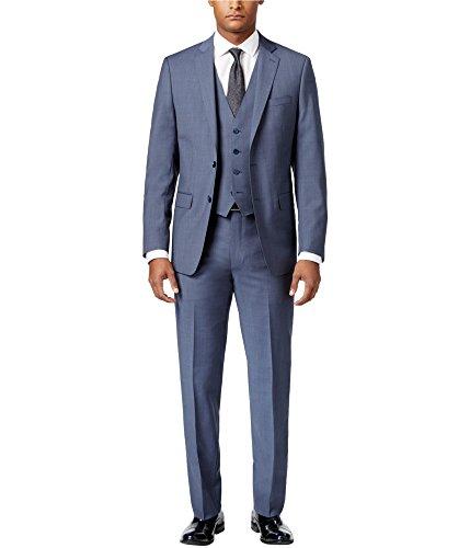Calvin Klein Mens Neat Vested Tuxedo, Blue, 48 Long / 42W x 39L