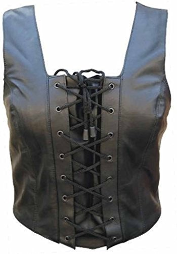 Allstate Leather Ladies Lambskin Leather Halter Top with Lace up Front 3XL Black