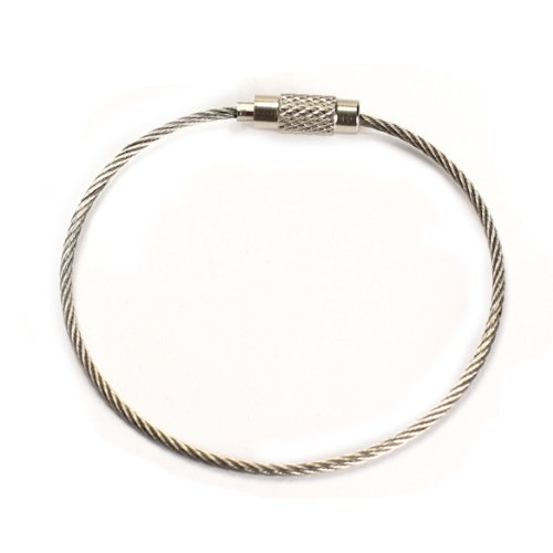 Vktech Stainless Steel 20cm Wire Keychain Cable Key Ring for Outdoor (100pcs)