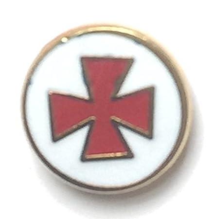 Masonic Freemason Knights Of Malta Small Enamel Lapel Pin Badge
