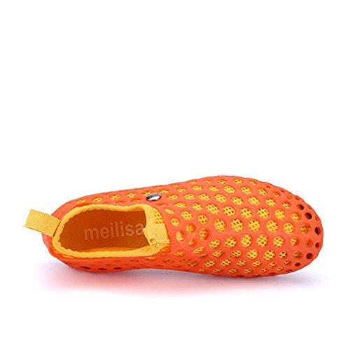 Ledare Visar Womens Mode Mesh Ihåliga Mjukt Vatten Skor Andas Sandaler Apelsin
