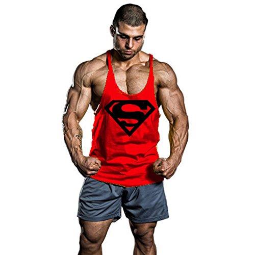 InleaderStyle Men's Bodybuilding S Logo Stringer Gym Tank Top Red M