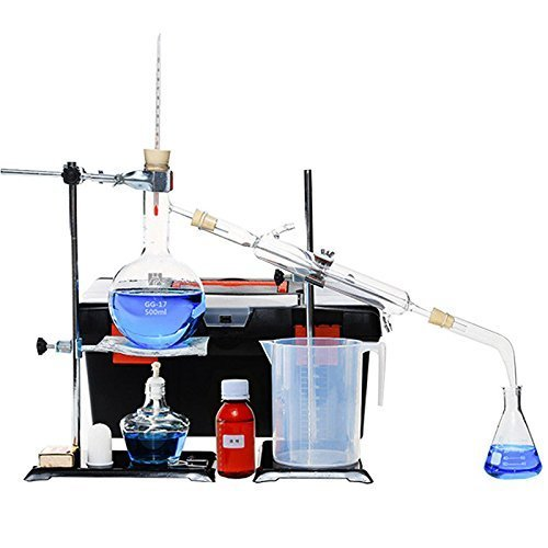 250ml-2000ml Brand New Lab Essential Oil Distillation Apparatus Water Distiller Purifier Glassware Kits w/Separatory Funnel Condenser Pipe Full Sets