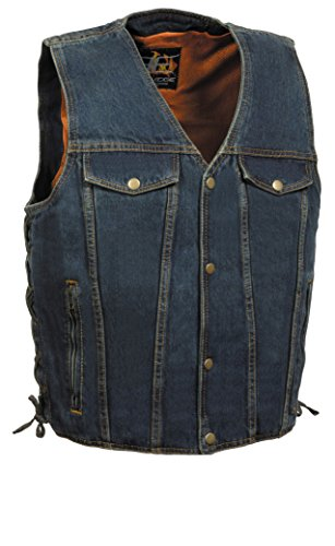 Chest Pocket Zippered (Men's Side Lace Denim Vest w/ Chest Pockets (Blue, 4X))