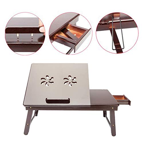 Folding Lap Desk with Drawer,Retro Bamboo Laptop Table Tray Adjustable Bedside Breakfast Food Snack Tray Portable Computer Notebook Stand Holder for Dormitory Writing Reading (Double Flower)