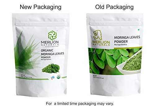 Merlion Naturals Organic Moringa Leaves Powder ( Moringa Oleifera ) - 1 lb / 16 OZ | Superfood | USDA NOP Certified 100% Organic | Vegan | Non GMO ( 2 Pack of 8 OZ)