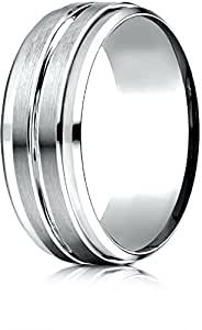 Benchmark 14k White Gold 8mm Comfort-Fit Drop Bevel Satin Center Cut Design Band, Size 8.75