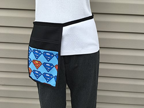 Black Hip Side Apron money Pouch Waitress pockets. Check out all 51 prints @(Handmade Janet aprons) SUPERMAN, Restaurant Bars Cafes Janet's Aprons