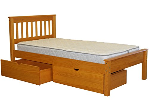 Bedz King Mission Style Twin Bed With 2 Under Bed Drawers, Honey