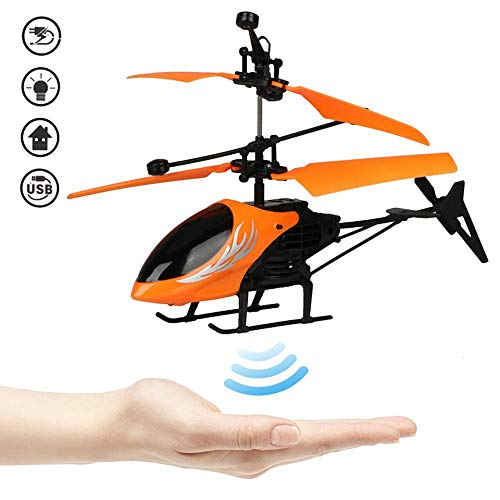 LAYOPO Remote Control Flying Helicopter Induction Aircraft, Hand Operated Drone Helicopter UFO Drone Flying Toy Rechargeable with LED Light for Kids Adults Indoor Outdoor Games