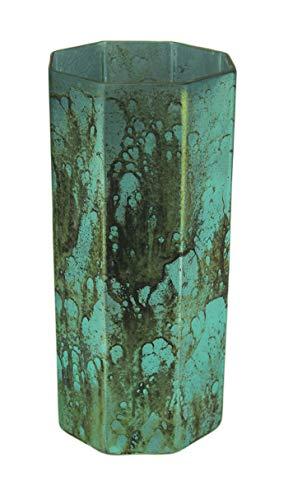 India House Mottled Aqua Blue Octagonal Glass Vase 9 Inches Tall
