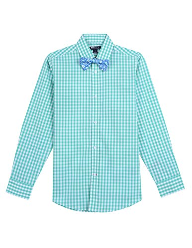 (Tommy Hilfiger Boys' Big' Long Sleeve Dress Shirt with Bow Tie Sailor Aqua Green 10)