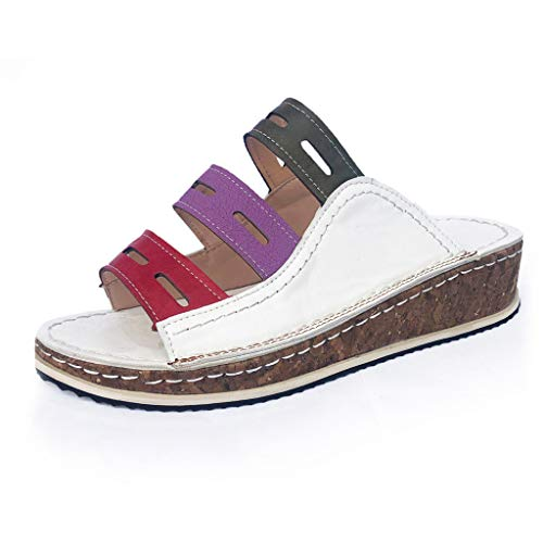 Summer Wedges Sandals for Women, Huazi2 Casual Slip On Walking Slipper Shoes White (Charles Barkley Shoes Red White And Blue)