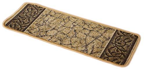 Dean Washable Non-Skid Carpet Stair Treads - Garden Path Gold & Brown (15) from D DEAN FLOORING COMPANY, LLC.