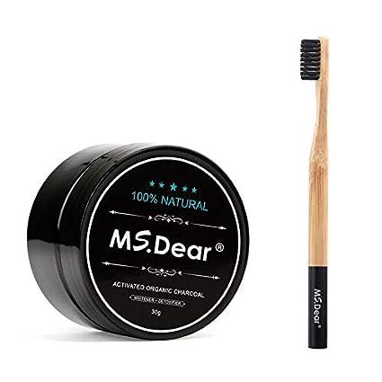 DEAR Blanqueamiento Dental con Cepillo de Dientes de Carbón de Bambú, polvo de