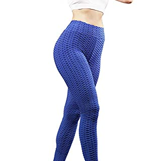 Varuwy High Waist Yoga Pants with Exercise Band, Butt Lifting Sport Leggings for Women Blue
