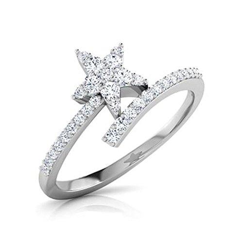 18K Or Blanc, 0,21carat Diamant Taille ronde (IJ | SI) en diamant