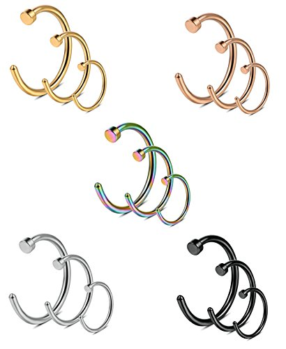 Ring 18g Nose (Monily 18G Stainless Steel Nose Hoop Ring Body Piercing Jewelry for Mens Womens 15Pcs)