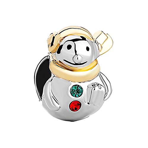 CharmsStory Snowman Charms Red Green Synthetic Crystal Gold Plated Beads Charms For Bracelets (Red Snowman Charm)