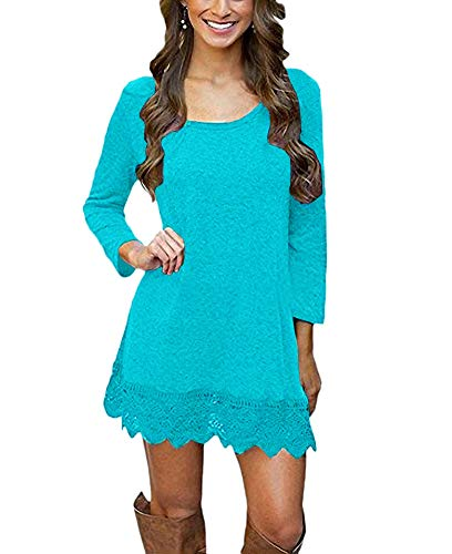 Afibi Women's Long Sleeve A-Line Lace Stitching Trim Casual Dress (XX-Large, Light Blue)
