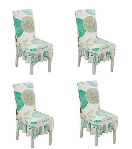 (Deisy Dee Print Pattern Ruffled Long Skirt Dining Chair Slipcovers (Pack of 4) C028)