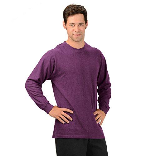 (Effort's Men's Hemp Long Sleeve T-shirt Large Plum)