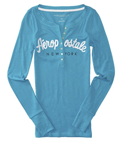 aeropostale-womens-bling-sequin-thermal-henley-shirt-x-large-aqua