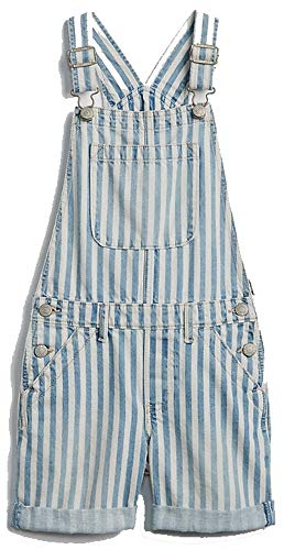 (GAP Kids Girls Blue White Railroad Stripe Shortalls XS 4 5 )
