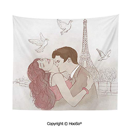 - Durable Washable and Reusable tapestry wall hanging carpet 59x40in,Romantic Man and Woman in front of Eiffel Tower Flying White Birds Love Passion Decorative,Dried Rose Beige Comfy and No Strange Odo
