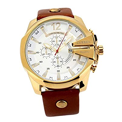 Prettyia Leather Strap Analog Quartz Watch Suit Wristband Business Work Casual Waterproof Watches Classic Calendar Date Watch Big Dial Estimated Price £14.08 -