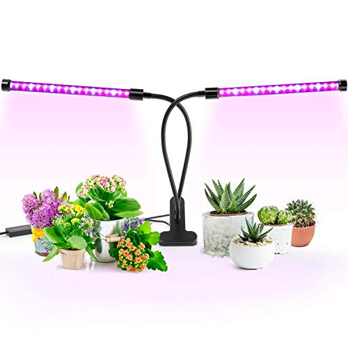 Timing Grow Light Lamp for Indoor Plant Dual Head Timing Grow Lamp Light, Imikoko™ with Desk Clip 36 LED Chips with Red/Blue Spectrum for Indoor Plants, Adjustable Gooseneck, 3/6/12H Timer, 5 Di