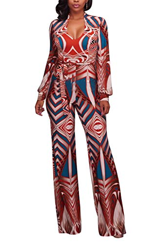Mycherish Women's Sexy V Neck Africa Dashiki Print Floral Tie Front Wide Leg Pants Jumpsuit and Romper Orange M by Mycherish