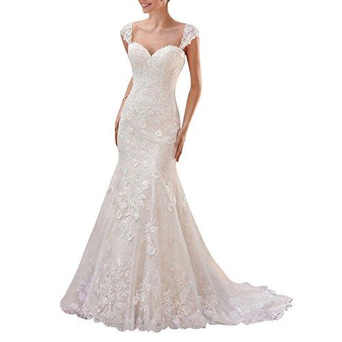 Firose Women's Cap Sleeves Sweetheart Mermaid Lace Wedding Dress for Bride 12 Ivory