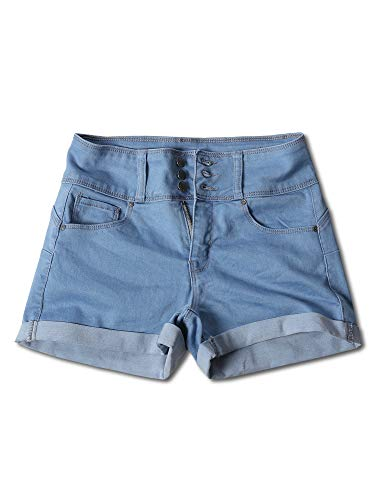 Awesome21 Casual Three Buttons Push Up Roll-up Cuff Denim Shorts Light M