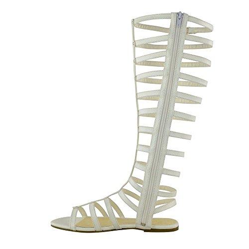 aiweiyi Womens Pisos gladiador sandalias remaches hebilla cremallera botas de elástica zapatos blanco