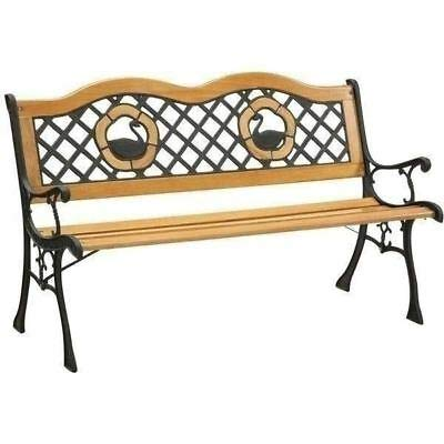 AK Energy Outdoor Garden Bench Park Lawn Wooden Patio Furniture Iron Swans Graceful Design Backrest (Swan Bench)